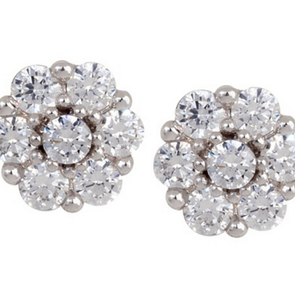 4cb5a41d6 QVC Jewelry | Esposito Diamonique Sterling Stud Flower Earrings ...